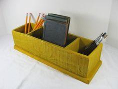 Vintage DESK ORGANIZER Wood STORAGE Box by LavenderGardenCottag
