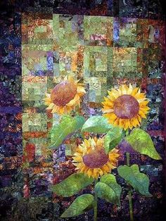 Sunflower Quilt - I got to see this one at the Houston International Quilt Festival. Quilting Projects, Quilting Designs, Quilting Ideas, Watercolor Quilt, Sunflower Quilts, International Quilt Festival, Quilt Modernen, Landscape Quilts, Arte Floral