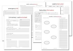 lots of these free printable sheets for meal planning, birthday tracking etc.