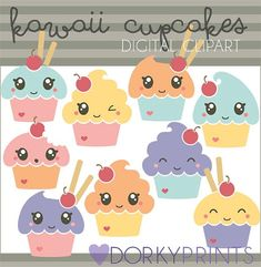 Cupcakes Clip Art Personal and Limited Commercial by DorkyPrints