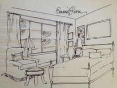 Simple Bedroom Drawing furniture, inspiring furniture sketches design ideas: classic sofa