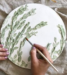 Green eucalyptus botanical bas-relief for bohemian wall decor by DinaArtDecor. Exclusive painted round plaster tile in Boho country style. Home garden decor. Exclusive eucalyptus botanical panel is ideal for decorating the entrance hall, living room, kitchen, bedroom or baby room