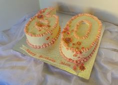 https://flic.kr/p/Jq4Fc2 | White with pink flowers 60th birthday cake