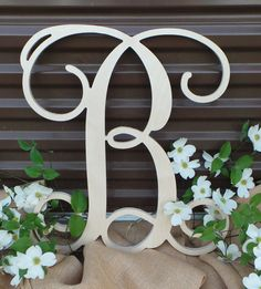 Unfinished Wooden Letter - Single Letter Vine Script Initial - Ready to Paint - Mother's Day Gift - Wooden Initial - Wedding Monogram