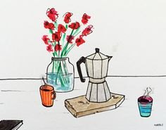 Coffee time for two by Marta Scupelli • www.stripe-me.com