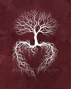 Burgundy Wall Art Tree Decor Tree Art Print Wedding Gift Pink Decor for Wall Tree Wall Art Love Art Tree Print for Wall Tree Branch Art, Tree Wall Art, Tree Branches, Tree Leaves, Pine Tree, Tree Roots Tattoo, Tattoo Tree, Tree Heart Tattoo, Branch Tattoo