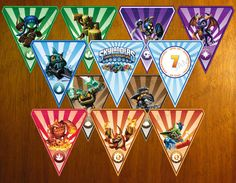 Personalized Skylanders Printable Birthday Party Flags - DIY Digital.