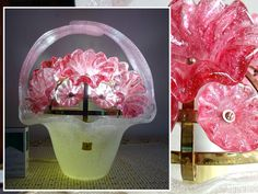 [Samurai] master craftsman Iwata Fujinana installment Iwata glass - blown glass flower basket bouquet - shaped flower motifs Denkasa shade antique glass lamp