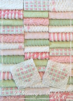 """Chenille fabric quilt squares 42-6"""" blocks, Pink & green, rosebuds, very shabby chic, vintage bedspread fabric"""