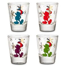 Disney Mickey Mouse Mini Glass Set | Disney StoreMickey Mouse Mini Glass Set - Make your holiday hosting skills legendary with this set of mini glasses featuring Mickey in a Santa hat! In four festive colors this glassware is the perfect size for nuts, party favors, toothpicks and seasonal treats!