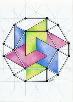 How connections work geo tats geometric art, geometric drawi Art Optical, Optical Illusions, Geometry Art, Sacred Geometry, Geometric Designs, Geometric Shapes, Isometric Drawing, Art Therapy Activities, Math Art