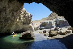 Kayaking caves at the northwest corner of Isla San Marcos. Photo by Sven Lindblad.