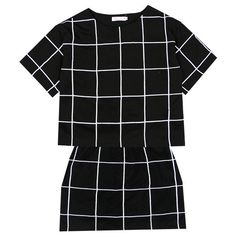 European and American minimalist checkered checkered BOOX temperament... ❤ liked on Polyvore featuring dresses, tops, skirts and black