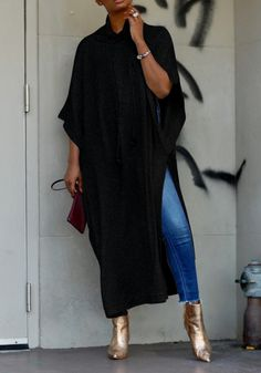 Black Draped Thigh High Side Slits Dolman Sleeve Plus Size Casual Maxi Dress Bat Sleeve, Long Sleeve, Maxi Shirts, Fast Fashion Brands, Plus Size Casual, Batwing Sleeve, Fall Trends, Daily Fashion, Clothes For Women