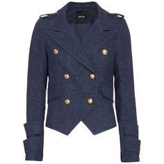 Smythe EXCLUSIVE Gold Button Detail Denim Blazer ($595) ❤ liked on Polyvore featuring outerwear, jackets, blazers, denim, denim blazer jacket, gold button blazer, denim jacket, lined denim jacket and long sleeve blazer