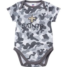 7c84596ea BABY SAINTS FAN CAMO ONESIE Outfit your little fan in our camouflage print  New Orleans Saints