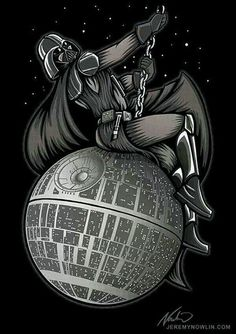'Darth Vader Riding the Death Star Wrecking Ball'. OMG! This is so Wrong it is Somehow Right! Star Wars Art, illustration.