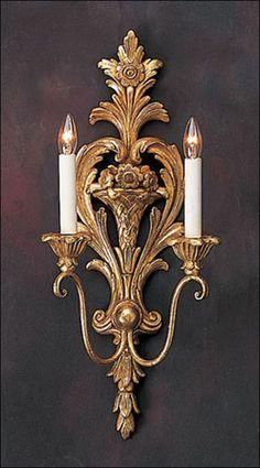 Hand-carved wood sconce with antiqued goldleaf finish. Details on our website…