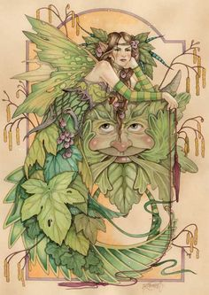 linda ravenscroft maiden-spring-and-jack-in-the-green watercolor original art painting fantasy
