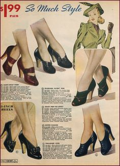 Chicago Mail Order 1940/40 | New Vintage Lady fashion style color photo print ad illustration women ladies shoes pumps heels 40s
