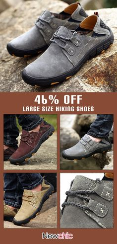 fd3ffc2ccc2e24 Large Size Men Anti-collision Leather Non-slip Outdoor Casual Hiking Shoes   outdoor