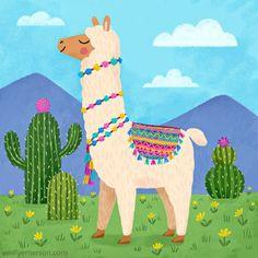 Alpaca by Emily Emerson Alpacas, Llamas Animal, No Drama Lama, Llama Images, Alpaca Drawing, Llama Arts, Llama Alpaca, Unicorn Art, Cute Drawings