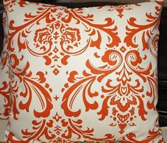 Love this orange damask fabric! Happy Colors, Bold Colors, Kitchen Chair Cushions, Orange Pillows, Fall Pillows, Orange Color, Orange Orange, Orange You Glad, Handmade Pillow Covers