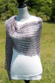 Hand knit with hand spun yarn shawl shawlette scarf by FARMSPUN