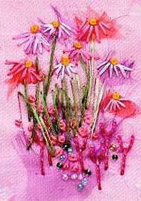Pink Echinacea Textile Mini Embroidery Project