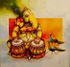Ganesha Drawing, Lord Ganesha Paintings, Ganesha Art, Krishna Painting, Shri Ganesh, Durga, Shiva Art, Krishna Art, Hindu Art