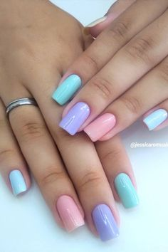 Perfect Colorful Nails Designs 2020 That Scream Spring Sns Nails Colors, Toe Nail Color, Spring Nail Colors, Spring Nail Art, Neutral Nails, Nail Designs Spring, Spring Nails, Summer Nails, Sns Nail Designs