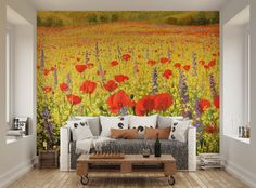 ohpopsi Field Of Red Roses And Yellow Rapeseed Oil Painting Wall Mural