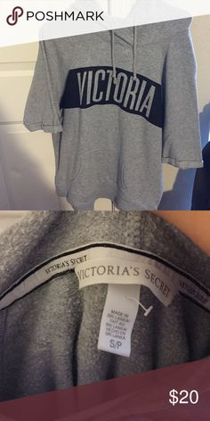 VICTORIA SECRET SHORT SLEEVE HOODIE! Great condition, no stains, size small PINK Victoria's Secret Tops Sweatshirts & Hoodies