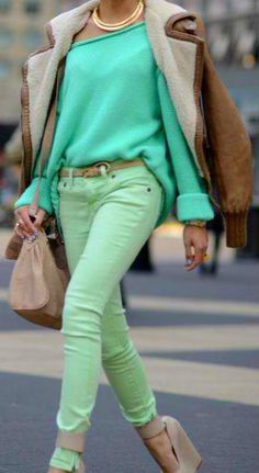 Different shades of green also make for another perfect outfit! Lol