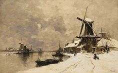 Windmills along a Canal in Winter,                                         Henry Cassiers (1858-1944), oil on canvas, 57 x 90 cm., Belgium. Collection Hotel Spaander Volendam