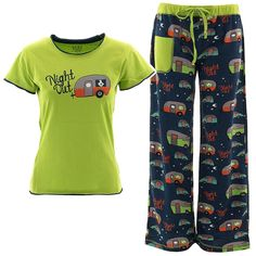 Night Out Camping Glamping Trailers Pajama Sets - Beachside Gifts Store