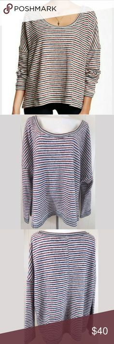 """Free People Little Ann Stripe Pullover Sweatshirt Little Ann sweatshirt by free people. Fuzzy, cozy, and oversized with raw edges. Size medium, 64"""" bust and 26"""" length. Gently loved in great condition. Free People Tops Sweatshirts & Hoodies"""