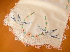 vintage table runner hand embroidered swallows birds by brixiana