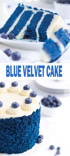 Red Velvet Cheesecake Cake with layers of moist red velvet cake and creamy cheesecake, covered in cream cheese frosting! A classic Red Velvet recipe! Blue Velvet Cakes, Bolo Red Velvet, Blue Cakes, Just Desserts, Delicious Desserts, Yummy Food, No Bake Desserts, Cupcake Recipes, Cupcake Cakes