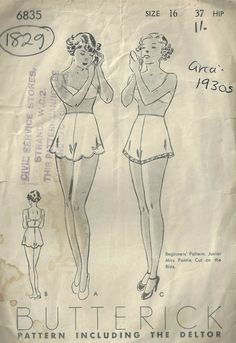 Vintage Stuff and Antique Designs Lingerie Patterns, Sewing Lingerie, Vintage Dress Patterns, Vintage Lingerie, Clothing Patterns, Vintage Outfits, Vintage Fashion, 1930s Fashion, Nightgown Pattern