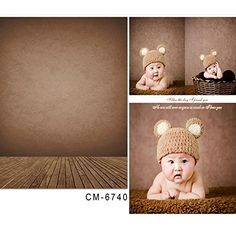 Amazon.com : 5x6.5ft Kate Newborn Photography Backdrops Brown Vintage Wooden…