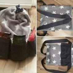 Beutel / Rucksack mit Taschen, Unikat,  Handmade, Designed by Tilli