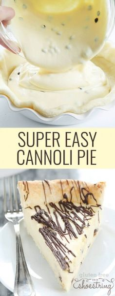 Gluten free cannoli pie has all the taste of cannoli in a super easy smooth and creamy pie. Make it with a pastry crust or cookie crust! http://glutenfreeonashoestring.com/gluten-free-cannoli-pie/