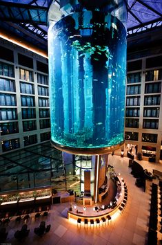 Aquarium surrounding elevator in Berlin, Germany. Radisson Blu Hotel. Guaranteed wet dreams.