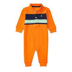 Cotton Mesh Polo Coverall - Baby Boy One-Pieces - RalphLauren.com