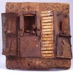 Gerard Cambon Ferro-cités  Papier mâché, matériaux de récupération (bois, ferraille...)  40 x 40 cm