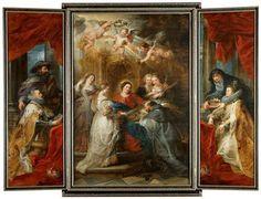 Artista: Peter Paul Rubens  Siegen 1577 - 1640 Amberes  Pintura:  Ildefonso altar: María se aparece a San Ildefonso (parte media), el archiduque Alberto VII (ala interior izquierda) y la Infanta Isabel Clara Eugenia (a la derecha en el interior del ala), tanto con sus clientes para 1630/1632  Roble