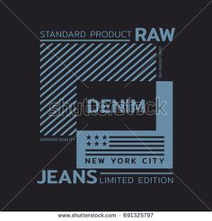 Vector illustration on the theme of denim, raw and jeans. The New York City. Stylized American flag. Typography, t-shirt graphics, print, poster, banner, flyer, postcard