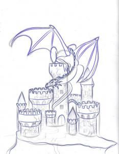 how to draw a dragon and castle step 5 - Have you thought of using a pattern…