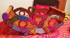 Hand Painted Bohemian  Unique Large Wood by NanabugsTreasures